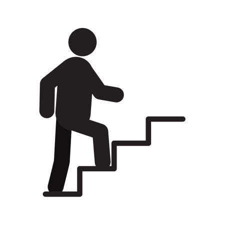 Man walking up stairs silhouette icon. Career growth. Isolated vector illustration. Climbing up stairs