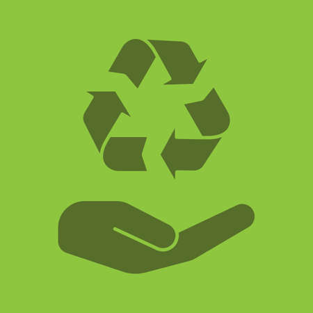 Open hand with recycling sign glyph color icon. Silhouette symbol. Pollution prevention. Negative space. Vector isolated illustration