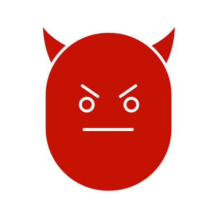 Devil smile glyph color icon. Evil face with horns. Silhouette symbol on white background. Negative space. Vector illustration