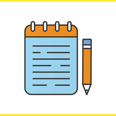 Spiral notepad with pencil color icon. Isolated vector illustration Illustration
