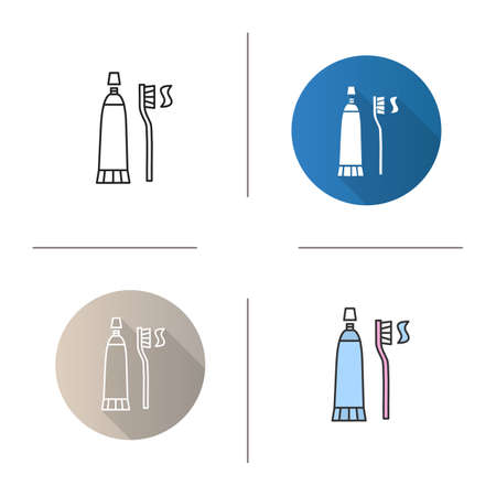 Tooth care tools icon.