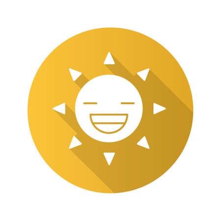 Laughing sun icon. Illustration