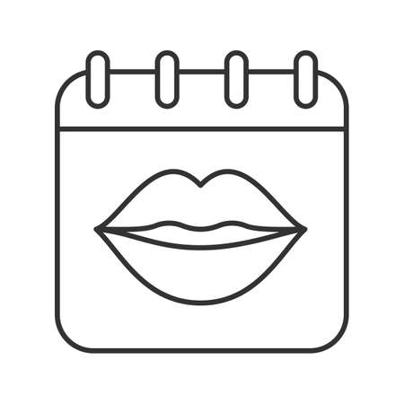 International Kissing Day linear icon. Thin line illustration. Calendar page with womans lips. Contour symbol. Vector isolated outline drawing Illustration