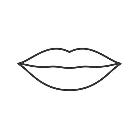 Lips linear icon. Thin line illustration. Contour symbol. Vector isolated outline drawing Ilustração