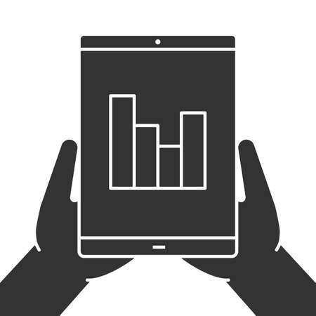 Hands holding tablet computer glyph icon. Silhouette symbol. Tablet computer with growth chart. Negative space. Vector isolated illustration