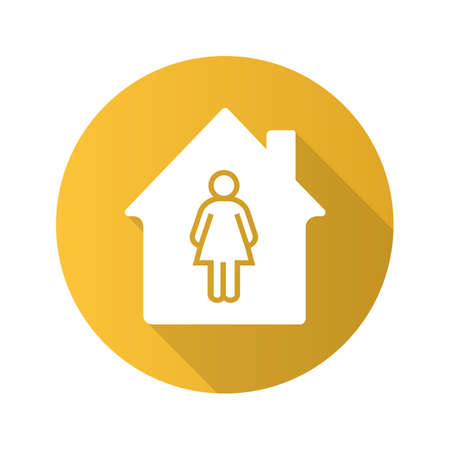 Owner flat design long shadow glyph icon. House with woman silhouette inside. Vector silhouette illustration