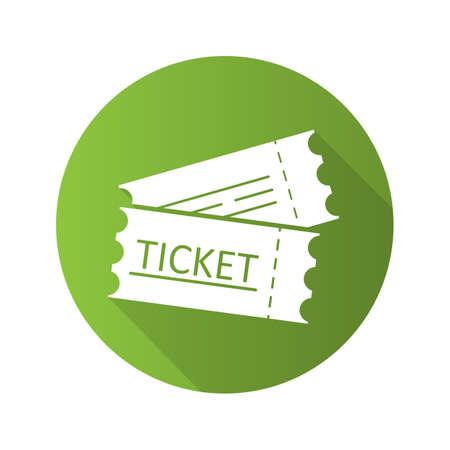 Tickets flat design long shadow glyph icon. Cinema, flight or sport event tickets. Vector silhouette illustration Illustration