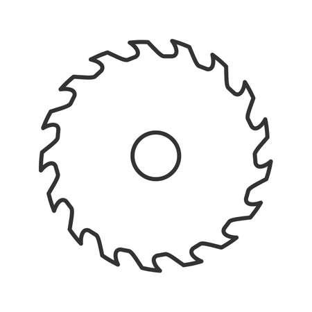 Ícone linear da lâmina de serra circular. Ilustração de linha fina. Lâmina da roda. Símbolo de contorno. Desenho de contorno isolado vetorial