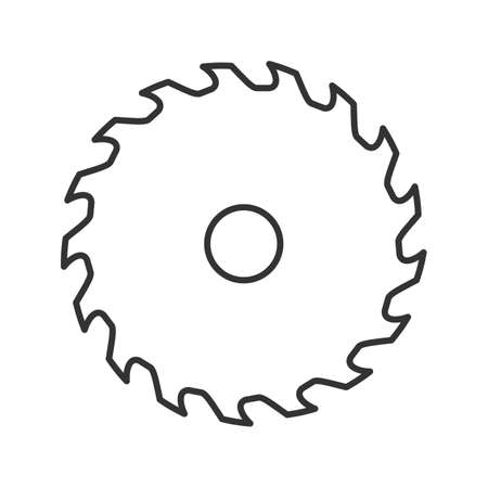 Circular saw blade linear icon. Thin line illustration. Wheel blade. Contour symbol. Vector isolated outline drawing
