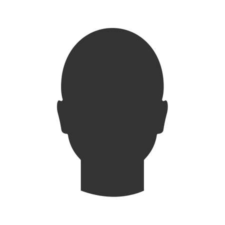 Human's head glyph icon. Silhouette symbol. Man's face frontal view. Negative space. Vector isolated illustration