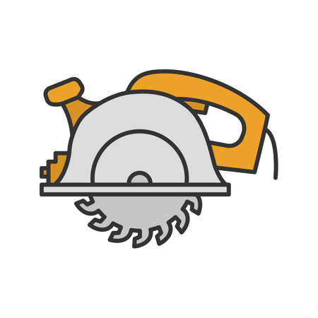 Circular saw color icon. Disc saw. Isolated vector illustration