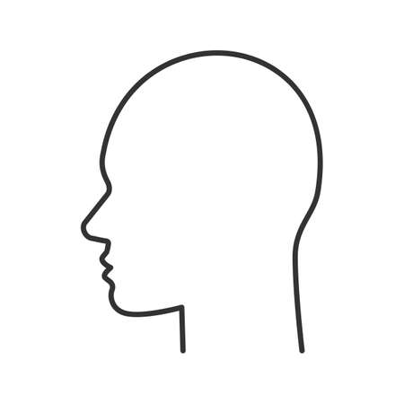 User linear icon. Human head. Thin line illustration. Profile contour symbol. Man face side view. Vector isolated outline drawing
