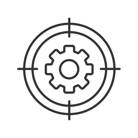 Aim on cogwheel linear icon. Search settings, options thin line illustration. Engineer finding contour symbol. Vector isolated outline drawing Illustration