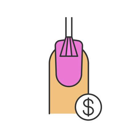 Icona del colore prezzi servizi salone del chiodo. Lucidatura per unghie con simbolo del dollaro. Illustrazione vettoriale isolato Archivio Fotografico - 88831969