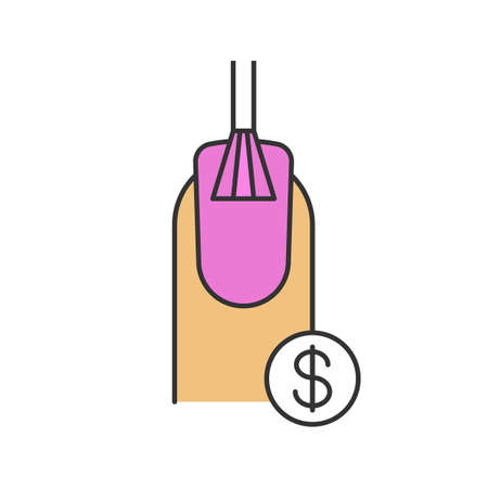 Nail salon services prices color icon. Nail polishing with dollar sign. Isolated vector illustration Illustration
