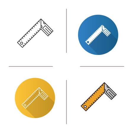 Set square icon. Flat design, linear and color styles. Bevel square. Isolated vector illustrations