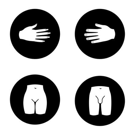 Human body parts glyph icons set. Male and female hands, bikini zone, mans groin. Vector white silhouettes illustrations in black circles