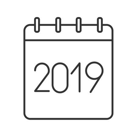 2019 annual calendar linear icon. Thin line illustration. Yearly calendar with 2019 sign. Contour symbol. Vector isolated outline drawing Illustration