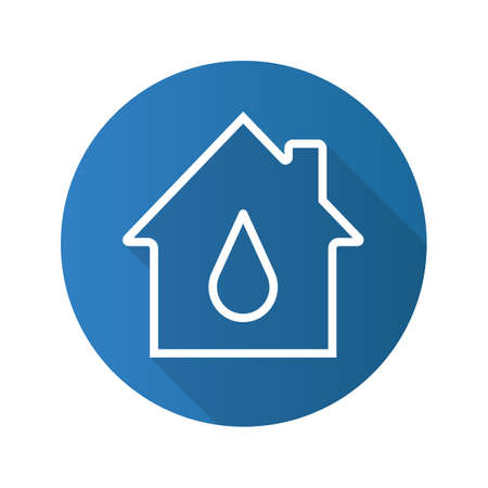 leaking: Water supply flat linear long shadow icon. House with water drop inside. Vector outline symbol