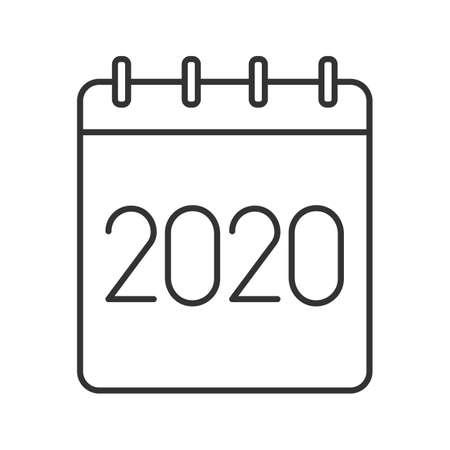Calendario Dibujo 2019.2019 Calendario Anual Icono Lineal Ilustracion De Linea