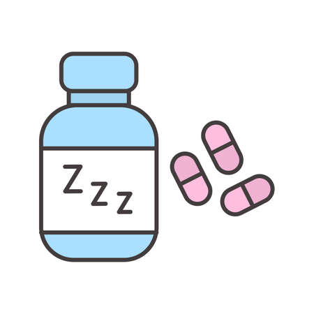 Sleeping pills color icon. Soporific. Isolated vector illustration