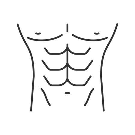 Muscular male torso linear icon. Fitness, bodybuilding. Thin line illustration. Contour symbol. Vector isolated outline drawing Illustration