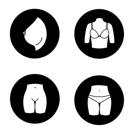 Female body parts glyph icons set. Woman's breast and bikini zone. Vector white silhouettes illustrations in black circles