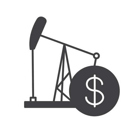 Oil trade glyph icon. Silhouette symbol. Oil derrick with dollar sign. Negative space. Vector isolated illustration Illustration