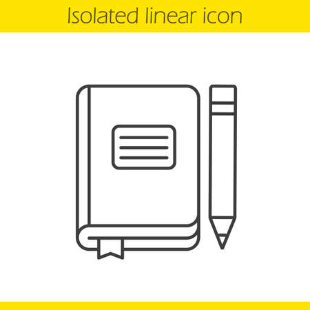 Diary notebook linear icon. Thin line illustration. School journal with bookmark and pencil. Contour symbol. Vector isolated outline drawing