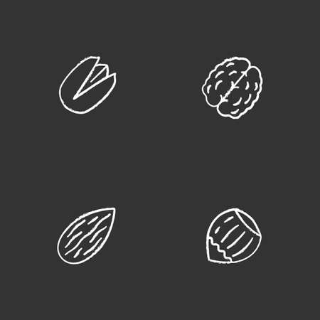 Nuts types chalk icons set. Pistachio, walnut, almond, hazelnut. Isolated vector chalkboard illustrations
