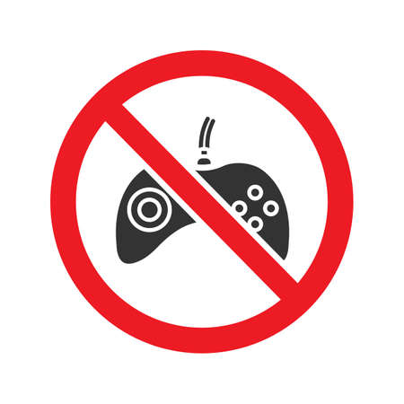 Forbidden sign with gamepad glyph icon. Stop silhouette symbol. No video games prohibition. Negative space. Vector isolated illustration Illustration
