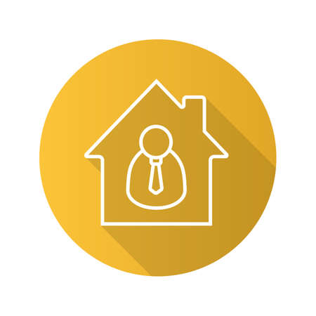 Broker flat linear long shadow icon. Realtor. House with businessman inside. Vector outline symbol