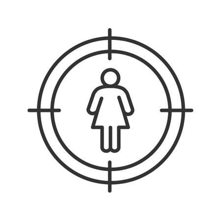 Cel na liniowy ikona kobiety sylwetka. Personel szuka cienkiej linii ilustracja. Znalezienie kobiety, dziewczyna kontur symbol. Wektor na białym tle zarys rysunku