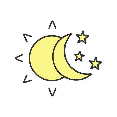 Sun and moon with stars color icon. Day and night. Isolated vector illustration Illustration