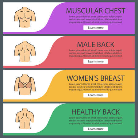 Human body parts web banner templates set. Man's muscular chest, female breast, man and woman's back. Website color menu items. Vector headers design concepts Stock Illustratie
