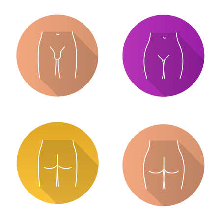 Body parts flat linear long shadow icons set. Bikini zone, male groin, man and woman buttocks. Vector outline illustration