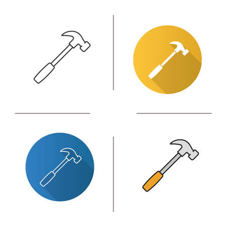 Hammer icon. Flat design, linear and color styles. Isolated vector illustrations Illustration