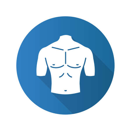 Muscular male chest flat design long shadow glyph icon. Vector silhouette illustration