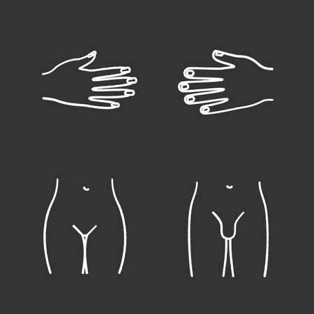 Body parts chalk icons set. Male and female hands, bikini zone, man's groin. Isolated vector chalkboard illustrations