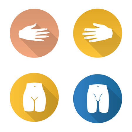 Body parts flat design long shadow glyph icons.