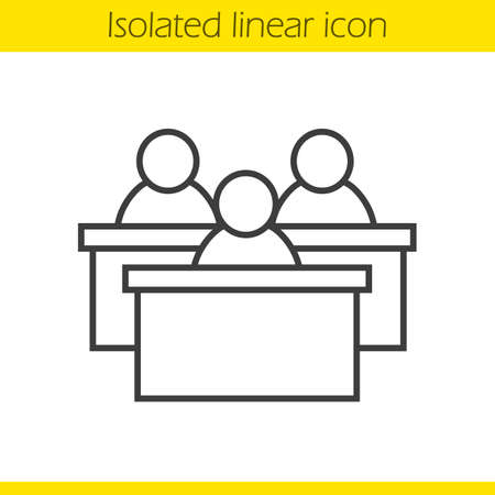 Audience linear icon. Thin line illustration. Lecture hall. Students conference contour symbol. Desks. Vector isolated outline drawing