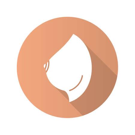 Vrouwelijk pictogram van de schaduw glyph van het borst het vlakke ontwerp.