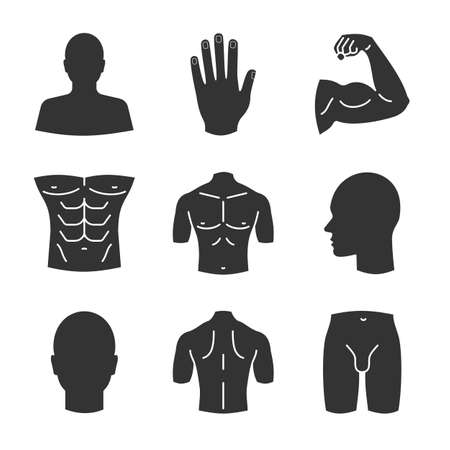 Male body parts glyph icons.