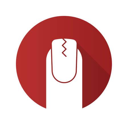 Gebrochenes flaches Design des Fingernagels.