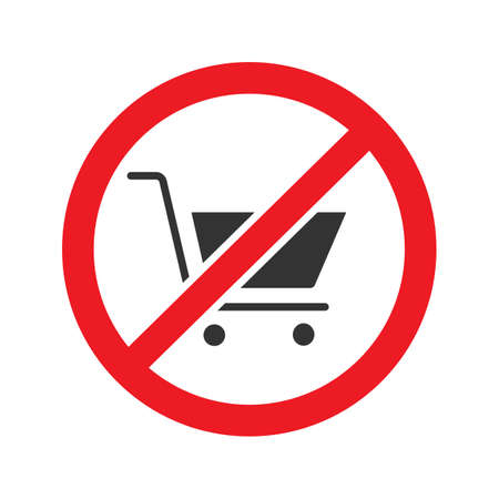 Forbidden sign with shopping cart glyph icon.