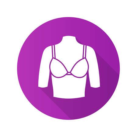 Female breast flat design long shadow glyph icon.