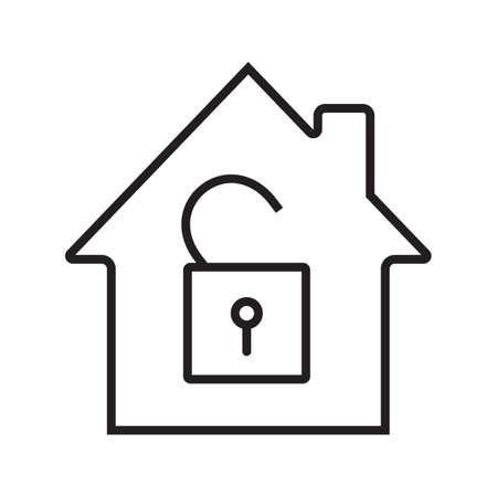 Unlocked house linear icon. Illustration