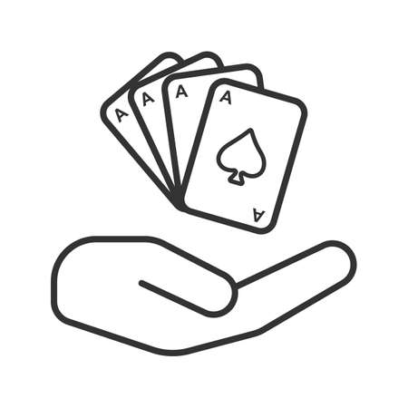 Open hand with playing cards linear icon. Gambling. Thin line illustration. Contour symbol. Vector isolated outline drawing