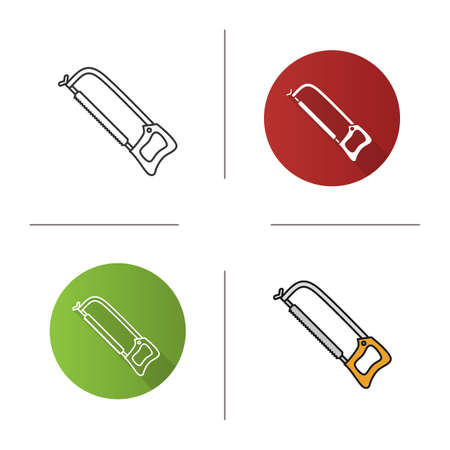 locksmith: Hand saw icon. Flat design, linear and color styles. Isolated vector illustrations Illustration