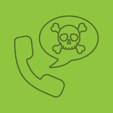 Dangerous phone call linear icon. Handset with skull and crossbones inside speech bubble. Thin line outline symbols on color background. Vector illustration Illustration